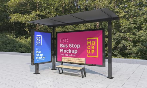 Arrêt De Bus Abribus Deux Signes Maquette Rendu 3d PSD Premium