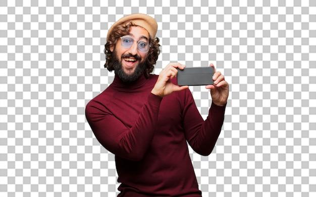 Artiste français avec un béret et un téléphone portable PSD Premium