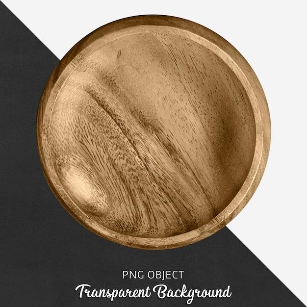 Assiette de service ronde en bois sur fond transparent PSD Premium