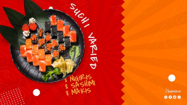 Assiette de sushi variée avec du poisson cru pour un restaurant japonais oriental oriental ou sushibar Psd gratuit