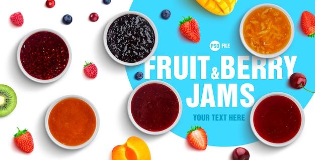 Assortiment De Baies Et Confitures De Fruits PSD Premium