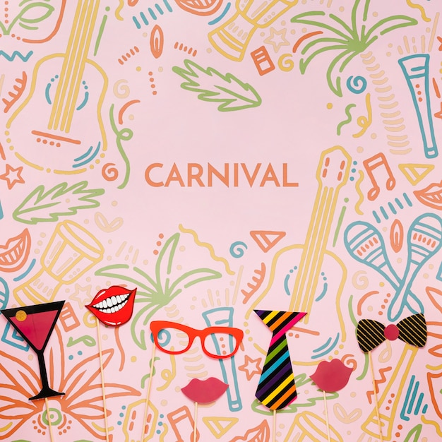 Assortiment De Décorations De Carnaval Psd gratuit