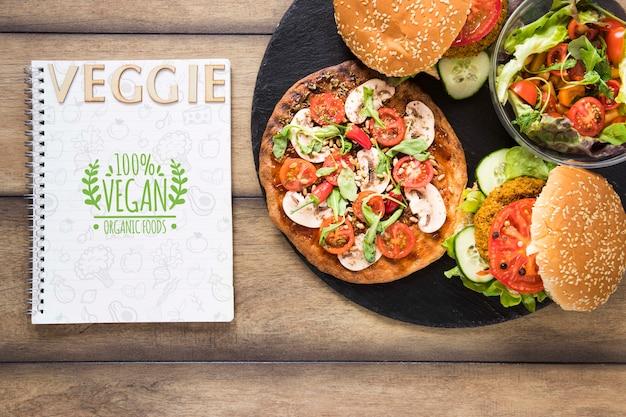 Assortiment plat avec burgers végétariens Psd gratuit