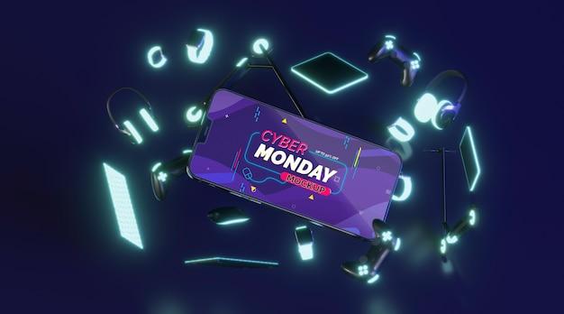 Assortiment De Vente Cyber Monday Avec Maquette De Téléphone Portable Psd gratuit