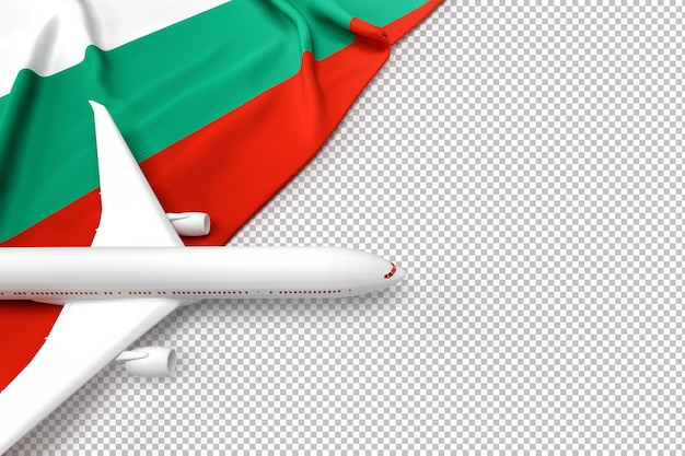Avion De Passagers Et Drapeau De La Bulgarie PSD Premium