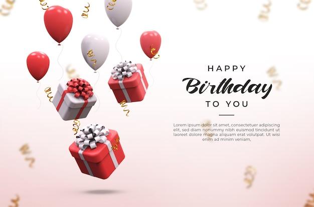 Ballons Brillants Roses Et Blancs 3d, Boîtes à Cadeaux Et Maquette De Confettis PSD Premium