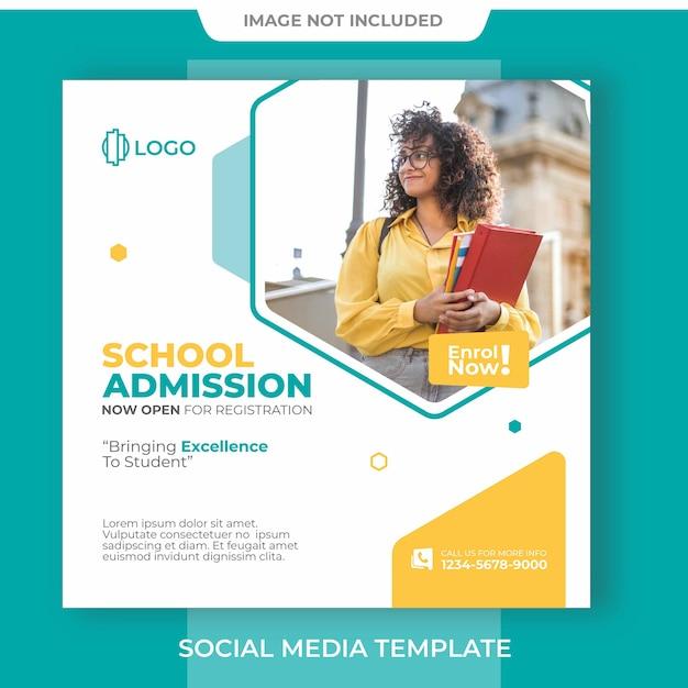 Bannière D'admission à L'école Modifiable Sur Les Médias Sociaux PSD Premium