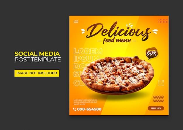 Bannière Carrée De Pizza Pour Les Médias Sociaux Premium Psd PSD Premium