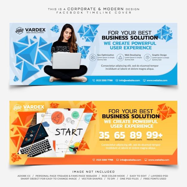 Bannière commerciale de développement web facebook timeline cover business PSD Premium