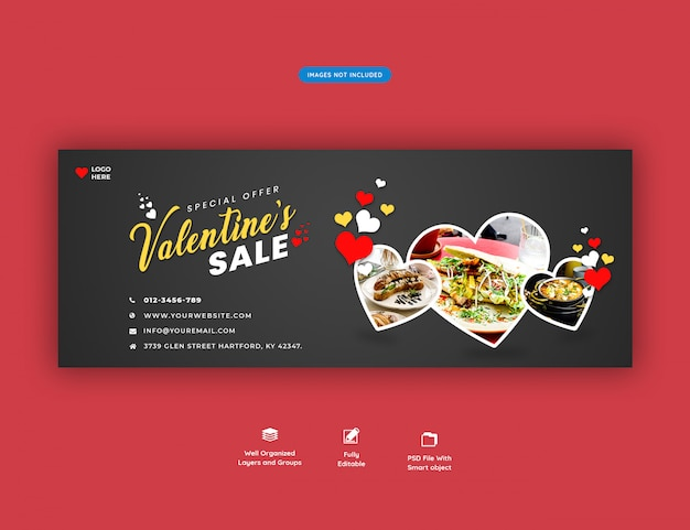 Bannière De Couverture Facebook De Vente De La Saint-valentin PSD Premium
