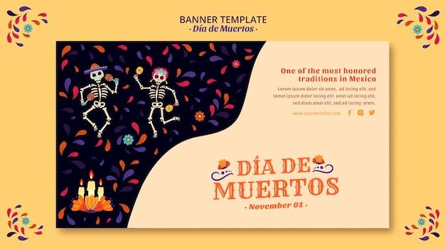 Bannière De Culture Squelette Et Confettis Mexicain Psd gratuit