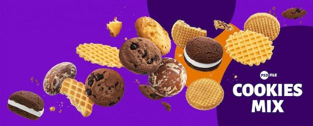 Bannière De Gâteaux, Biscuits, Craquelins Et Gaufres PSD Premium
