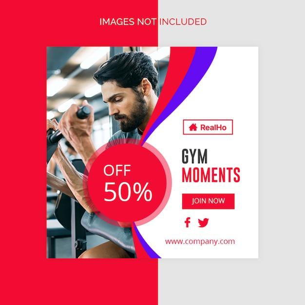 Bannière de gym-fitness bannière social social bannière PSD Premium