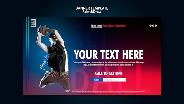 Bannière Horizontale De Joueur De Basket-ball Psd gratuit