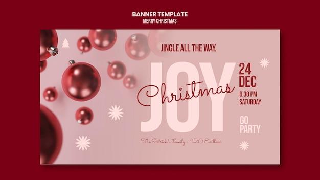 Bannière Horizontale De Joyeux Noël Psd gratuit