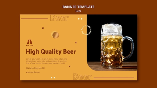 Bannière Horizontale Pour Bière Fraîche Psd gratuit