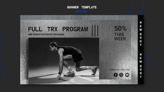 Bannière Horizontale Pour L'entraînement Trx Avec Athlète Masculin Psd gratuit