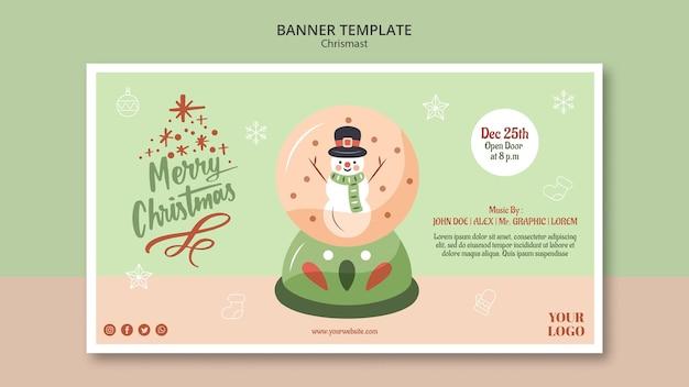 Bannière Horizontale Pour Noël Avec Boule à Neige Psd gratuit