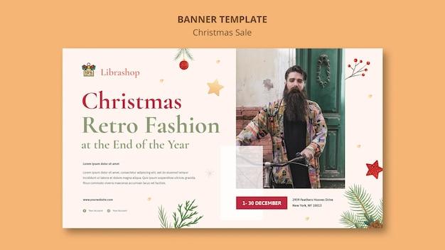 Bannière Horizontale Pour La Vente De Noël Psd gratuit