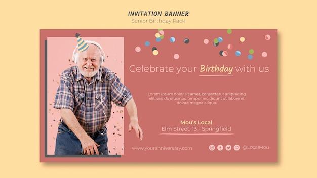 Bannière D'invitation Anniversaire Senior Psd gratuit