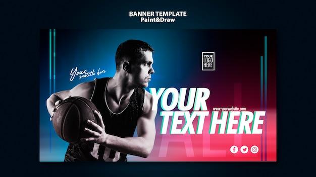 Bannière De Joueur De Basket Avec Photo Psd gratuit