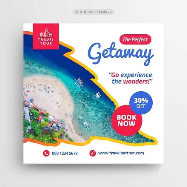 Bannière de média social voyage vacances vacances ou modèle de flyer carré PSD Premium