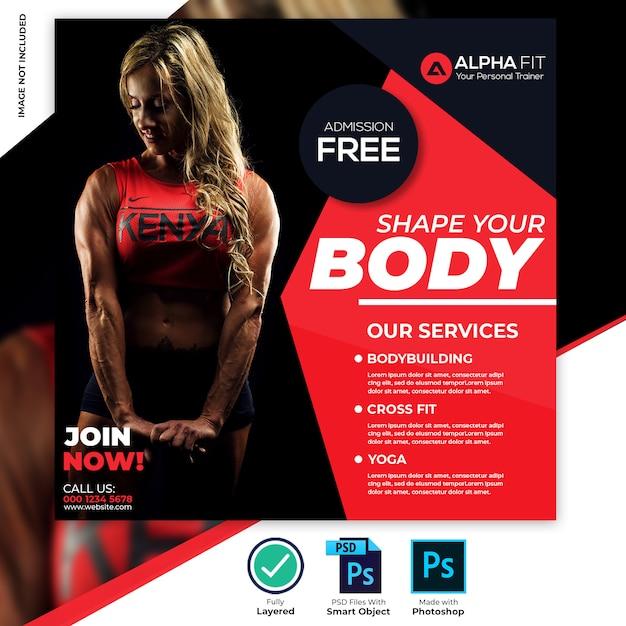Bannière de médias sociaux gym fitness PSD Premium