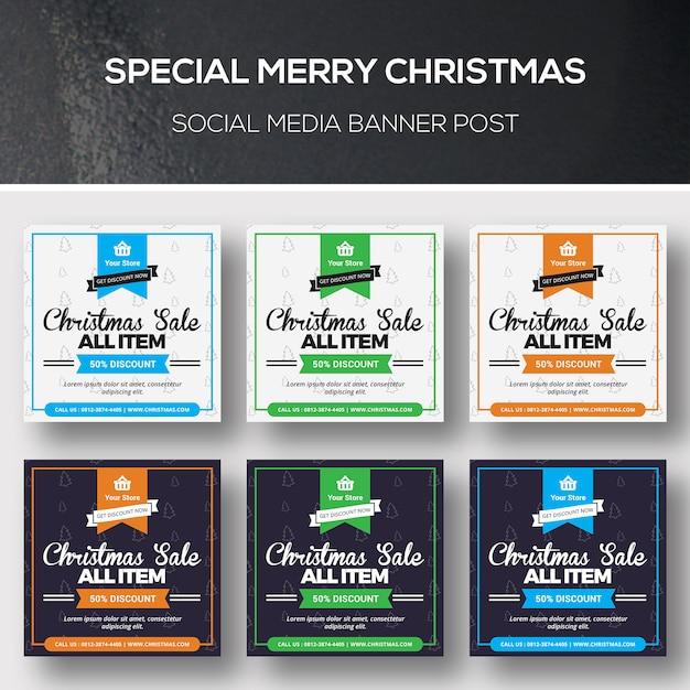 Bannière De Médias Sociaux De Noël PSD Premium