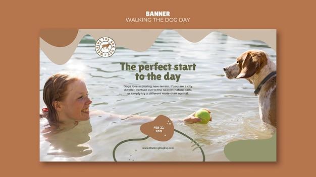 Bannière De Modèle D'annonce Walking The Dog Day Psd gratuit