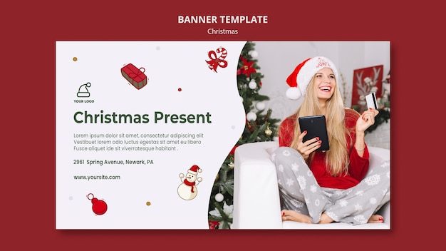 Bannière De Modèle De Magasin De Cadeaux De Noël Psd gratuit