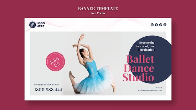 Bannière De Modèle De Studio De Danse Psd gratuit