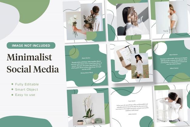 Bannière De Post Instagram De Médias Sociaux Fluides Verts Minimalistes PSD Premium