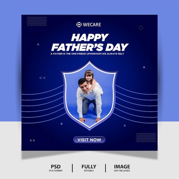 Bannière De Publication Sur Les Médias Sociaux De La Fête Des Pères De Couleur Bleue PSD Premium
