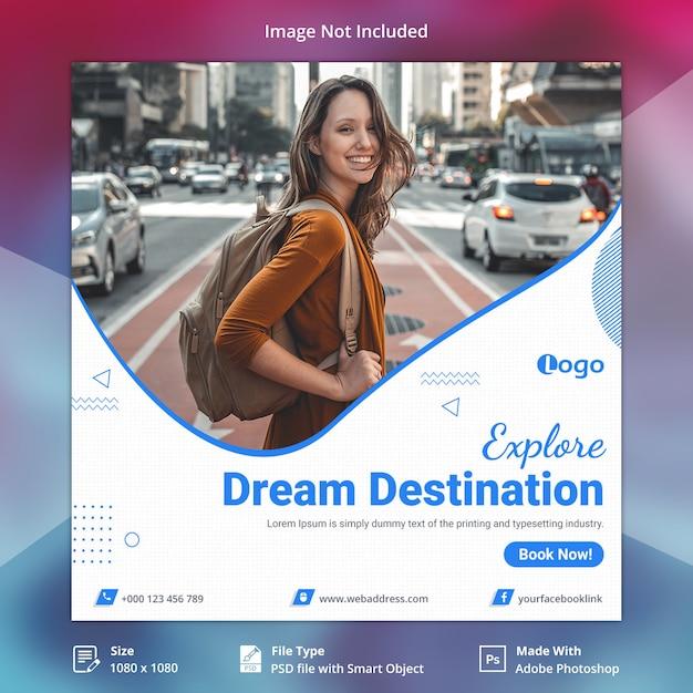 Bannière des réseaux sociaux de voyage PSD Premium