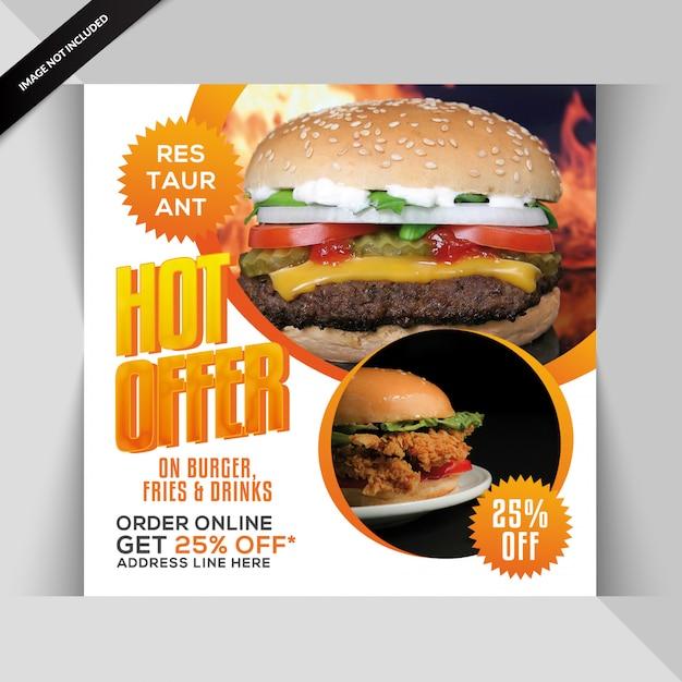 Bannière de restaurant ou poste pour instagram PSD Premium
