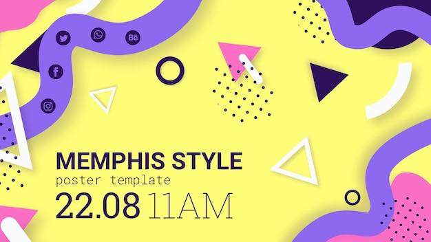 Bannière De Style Memphis Jaune Psd gratuit
