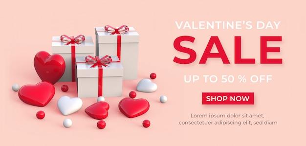 Bannière De Vente Heureuse Saint Valentin PSD Premium