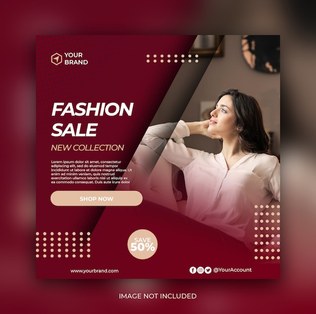 Bannière De Vente De Mode Ou Flyer Carré Pour Le Modèle De Publication Sur Les Médias Sociaux PSD Premium
