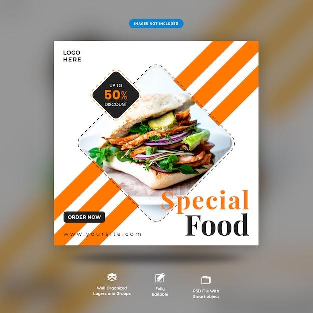Bannière de vente de restaurant et modèle de poteau carré instagram poste premium psd PSD Premium