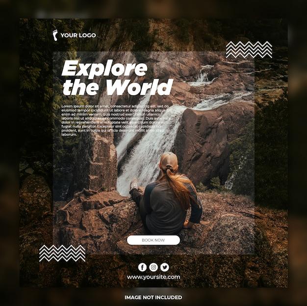 Bannière De Voyage Aventure Tours Instagram Post Ou Modèle De Bannière Carrée PSD Premium