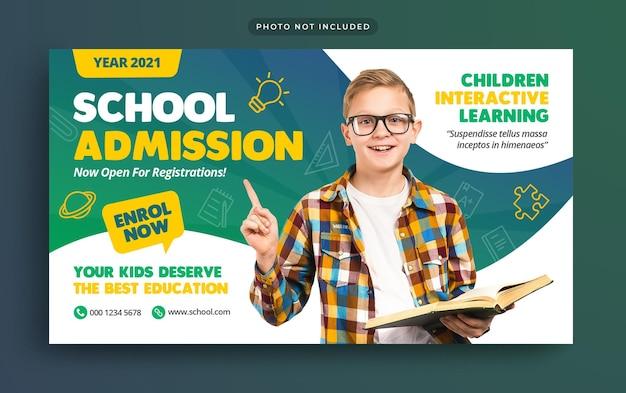 Bannière Web D'admission à L'enseignement Scolaire Et Vignette Youtube PSD Premium