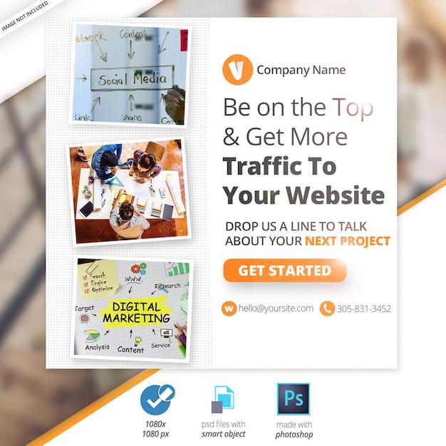 Bannière web sur le marketing des médias sociaux PSD Premium