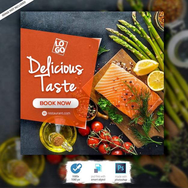 Bannière web sur les restaurants PSD Premium