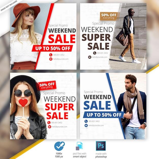 Bannières sociales de vente de mode PSD Premium
