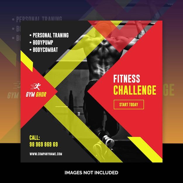 Bannières web de gym fitness médias sociaux PSD Premium