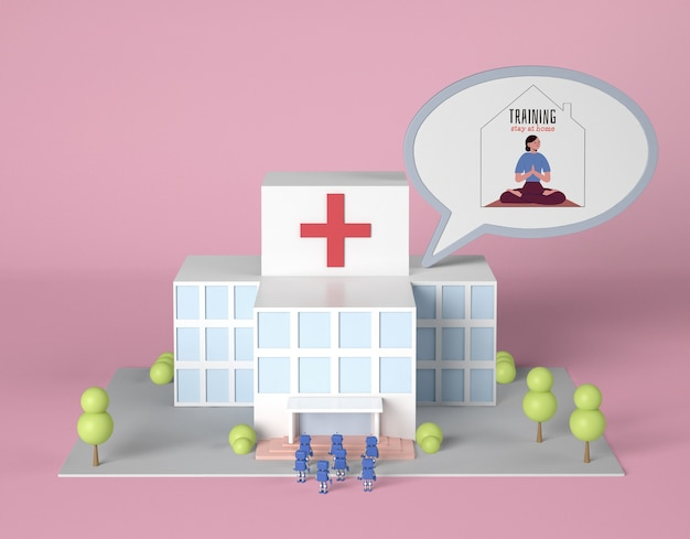 Bâtiment De L'hôpital Avec Des Robots Et Formation à Domicile Bulle De Chat Psd gratuit