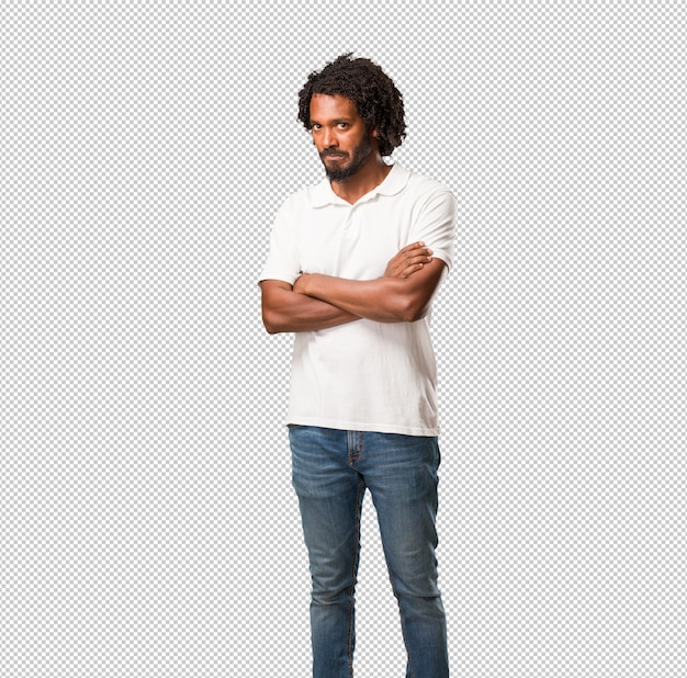 Beau Afro-américain Très En Colère Et Contrarié, Très Tendu, Hurlant Furieux, Négatif Et Fou PSD Premium