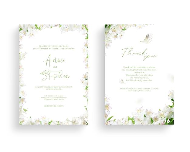 Beau Cadre De Fleur De Printemps, Invitation, Carte De Mariage, Salut De Remerciement, PSD Premium