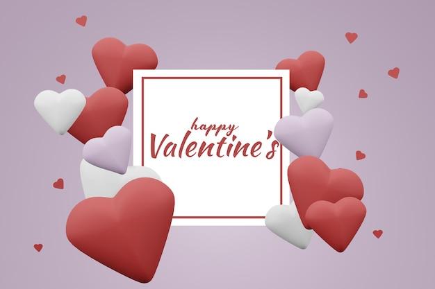 Beau Concept De Fond De Carte Happy Valentines Day Dans Une Maquette De Modèle 3d PSD Premium