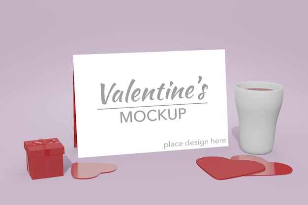Beau Concept De Fond Happy Valentines Day Dans La Maquette De Carte Modèle 3d PSD Premium